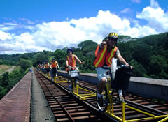 Thumbs up! Crossing the tallest railroad bridge in Costa Rica on a railbike tour